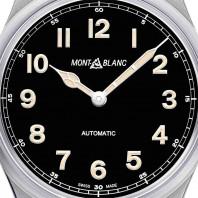 Montblanc 1858 stål 40mm, svart urtavla, Montblanc läderband 119907
