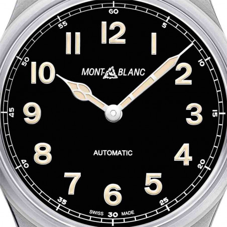 Montblanc 1858 40mm steel case, black dial and leather strap 119907