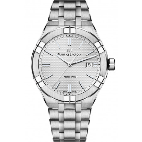 Maurice Lacroix - Aikon Automatic Silver Sun Brushed & Stållänk Herr 42 mm AI6008-SS002-130-1