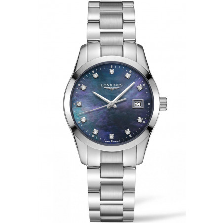 Longines Conquest Classic 34mm Black Mother-of-pearl & Diamonds L23864886