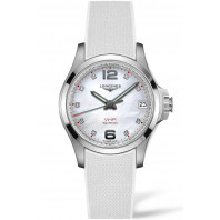 Longines - Conquest V.H.P. 36mm Mother of Pearl, Diamonds & Rubber Strap L33164879
