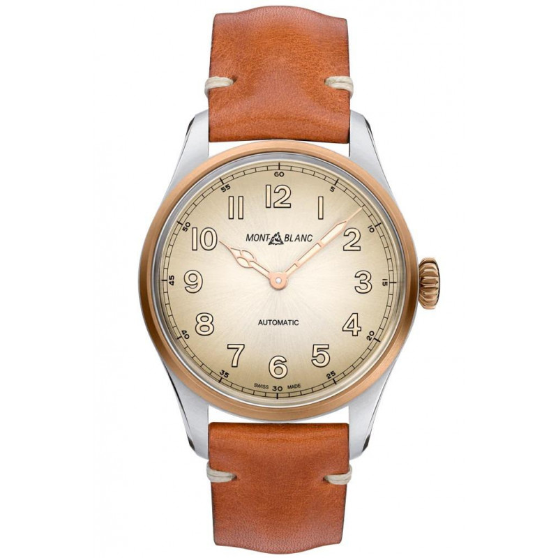 Montblanc - 1858 Automatic 40 mm Champagne, Steel & Bronze, Leather strap 119065