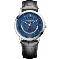 Baume & Mercier Classima Automatisk GMT Blå & Läderband - M0A10482