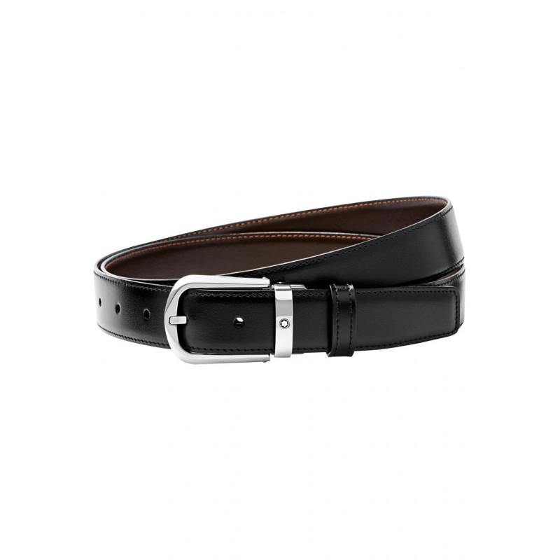 Montblanc - Meisterstück Black & Brown Horseshoe Pin Buckle Belt - 114412