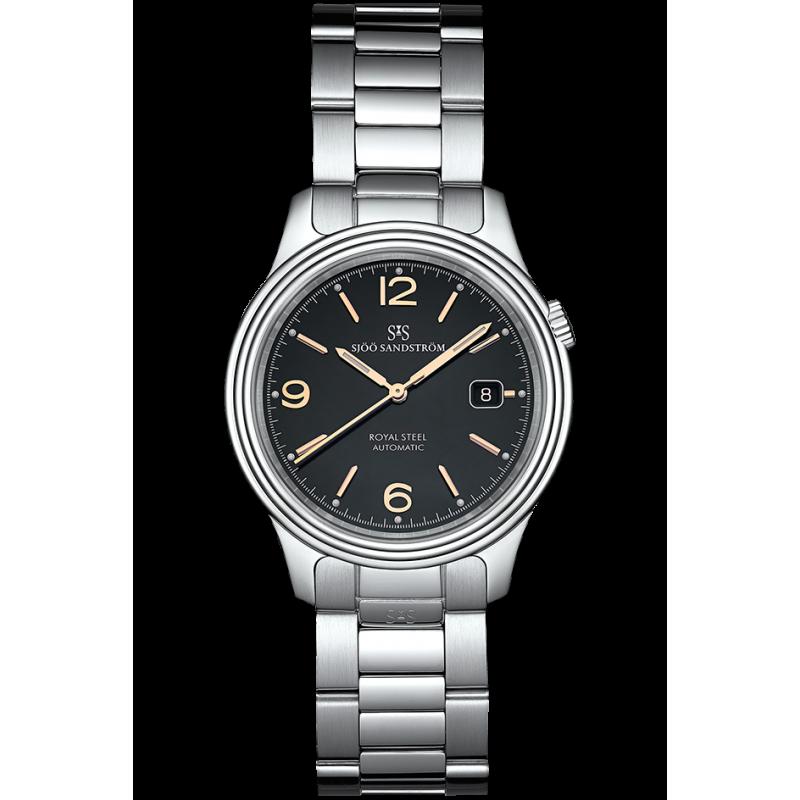 Sjöö Sandström - Royal Steel Classic 41mm Men's Black & Rose gold Index, Steel bracelet 009048