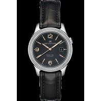 Sjöö Sandström - Royal Steel Classic 41mm Black, Rose Gold Index & Alligator Strap 009024