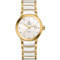 Rado - Centrix Automatic 28mm Lady White Ceramic & Yellow Gold, 12 Diamonds R30080752