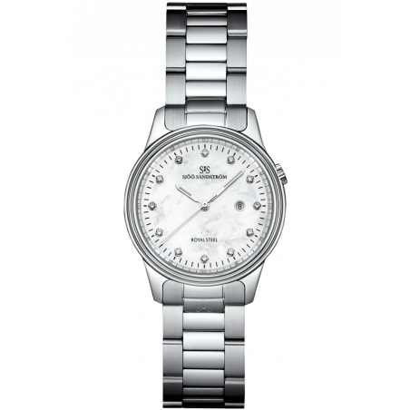 Sjöö Sandström - Royal Steel Classic 32mm Lady's Mother-of-Pearl & Steel 12 Diamonds 007266