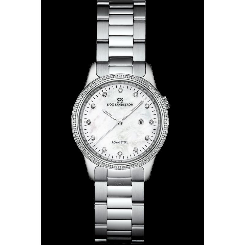 Sjöö Sandström - Royal Steel Classic 32mm Lady's Mother-of-Pearl & Steel 80 Diamonds 007716