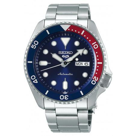 Seiko - 5 Sports 42.5mm Automatic Blue & Red Steel bracelet SRPD53K1