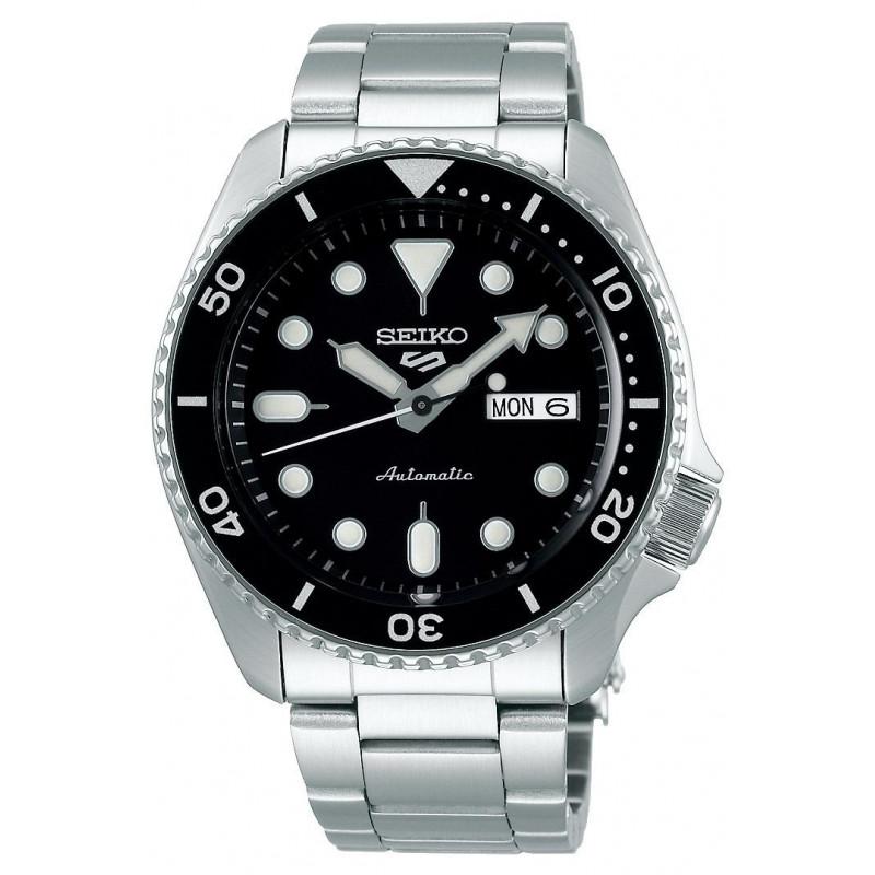 Seiko - 5 Sports 42.5mm Automatic Black & Steel Divers watch SRPD55K1