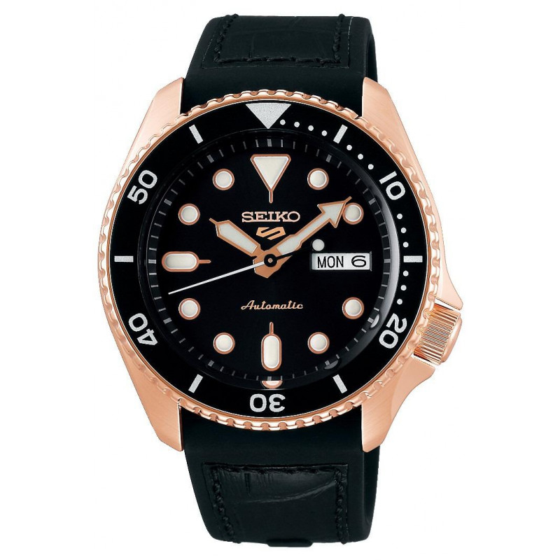 Seiko - 5 Sports 42.5mm Automatic Black & Gold PVD, Silicone strap SRPD76K1