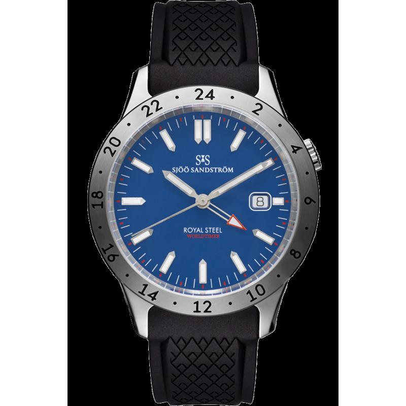 Sjöö Sandström - Royal Steel Worldtimer 41mm Blue & Rubber strap 020791
