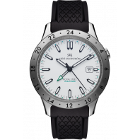 Sjöö Sandström - Royal Steel Worldtimer 41mm White & Rubber strap 020135