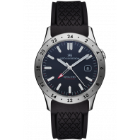 Sjöö Sandström - Royal Steel Worldtimer 36mm Black & Rubber 020432