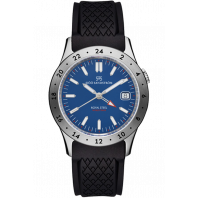 Sjöö Sandström - Royal Steel Worldtimer 36mm Blue & Rubber strap 020623