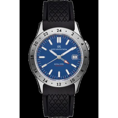 Sjöö Sandström - Royal Steel Worldtimer 36mm Blue & Rubber strap 020623