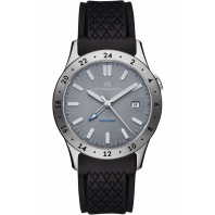 Sjöö Sandström - Royal Steel Worldtimer 36mm Grey & Rubber strap 020494