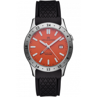 Sjöö Sandström - Royal Steel Worldtimer 36mm Orange & Rubber strap 020548