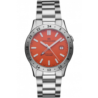 Sjöö Sandström - Royal Steel Worldtimer 36mm Orange & Stållänk 020555