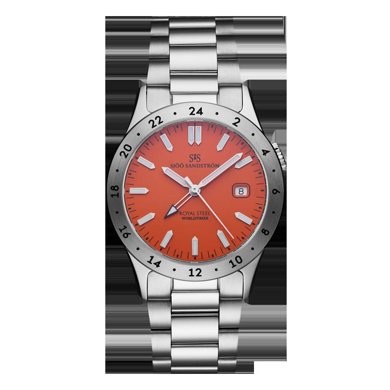 Sjöö Sandström - Royal Steel Worldtimer 36mm Orange & Bracelet 020555