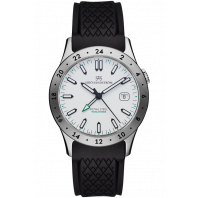 Sjöö Sandström - Royal Steel Worldtimer 36mm White & Rubber strap 020586