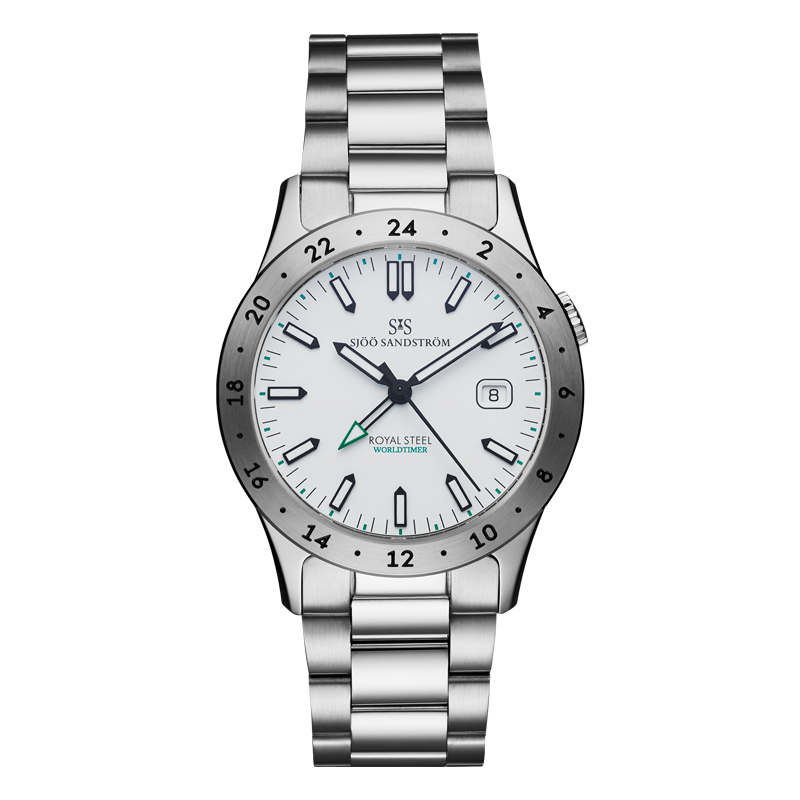 Sjöö Sandström - Royal Steel Worldtimer 36mm White & Bracelet 020593
