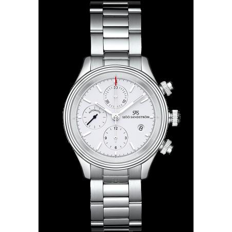 Sjöö Sandström - Royal Steel Chronograph 42mm White & Steel Bracelet 011652