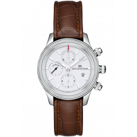 Sjöö Sandström - Royal Steel Chronograph 42mm White & Alligator strap 011638