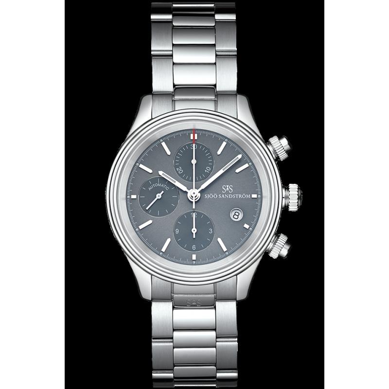 Sjöö Sandström - Royal Steel Chronograph 42mm Metalic grey & Steel Bracelet 012758