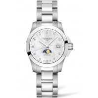 Longines - Conquest 34mm Moonphase Diamonds index Mother-of-pear & Steel L33814876