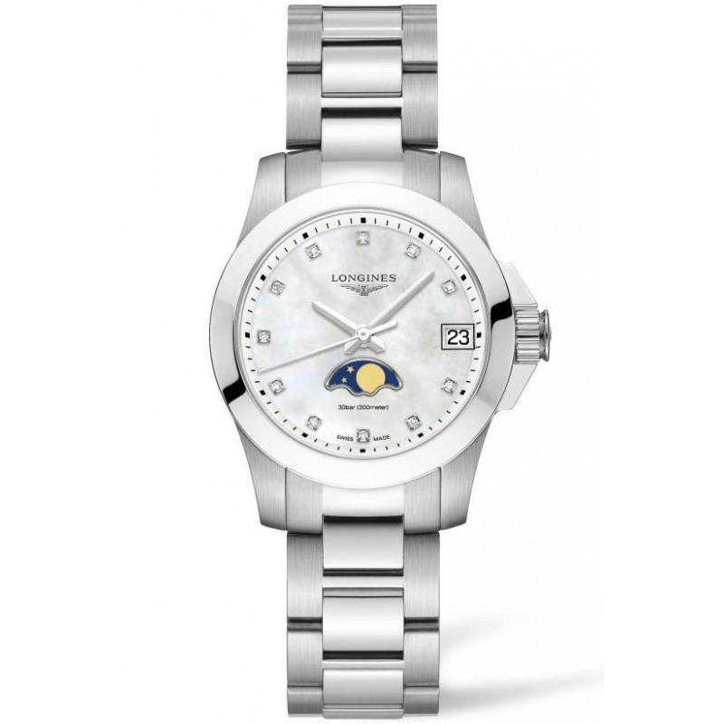 Longines - Conquest 29mm Moonphase Diamonds index Mother-of-pear & Steel L33804876