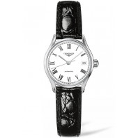 Longines Lyre 25mm White & Steel Roman numerals Leather strap Lady's Watch,L43604112