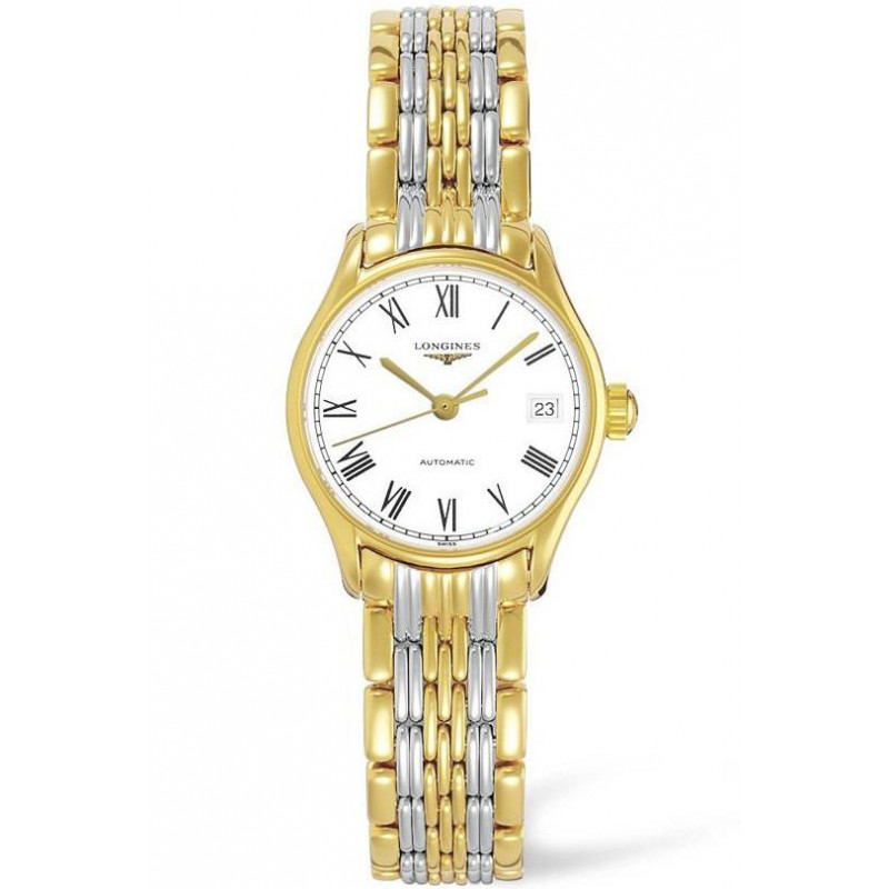 Longines -Lyre 25mm, white dialand bracelet with yellow gold PVD plated L43602117