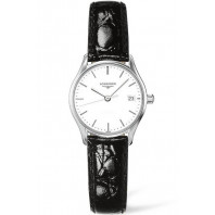 Longines Lyre 25mm Quartz White & Steel Leather strap Lady's Watch,L4259412