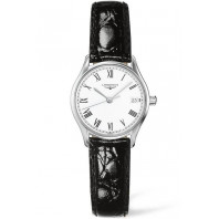 Longines Lyre 25mm Quartz White & Steel Roman numerals Leather strap Lady's watch ,L42594112