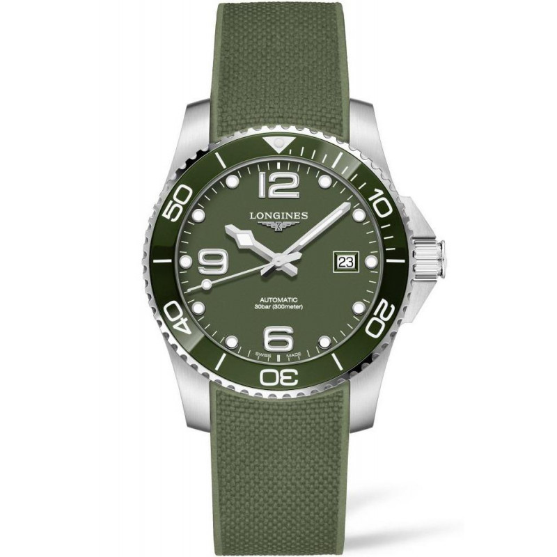 Longines - HydroConquest 41mm Green Ceramic & Rubber L37814069
