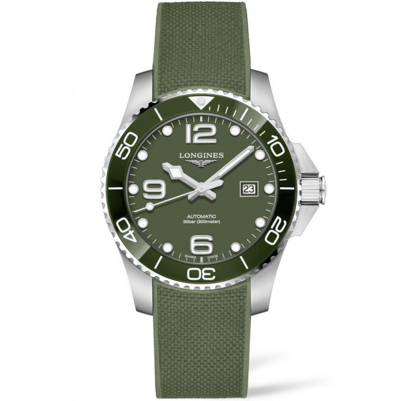 Longines - HydroConquest 43mm Green Ceramic & Rubber L37824069