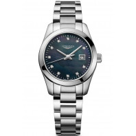 Longines - Conquest Classic 29.5mm Black Mother of Pearl & Diamonds L22864886