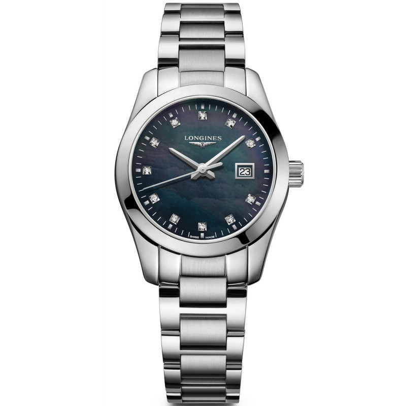 Longines - Conquest Classic 29.5mm Black mother-of-pearls & Diamonds L22864886