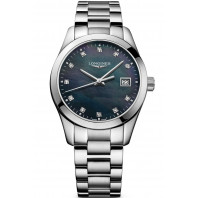 Longines - Conquest Classic 34mm Black mother-of-pearls & Diamonds L23864886