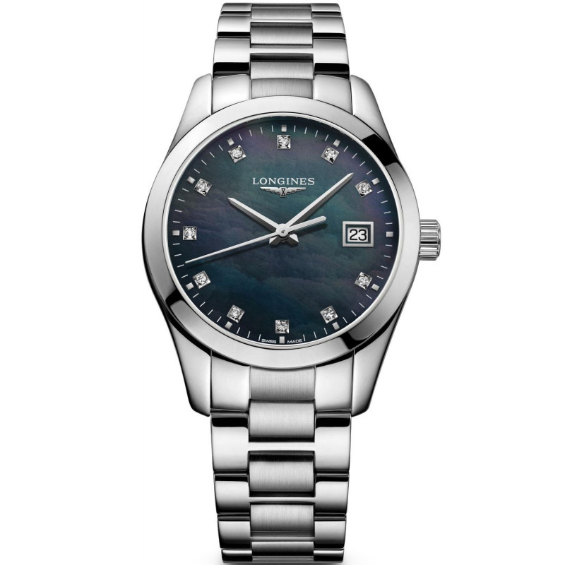 Longines - Conquest Classic 34mm Black Mother of Pearls & Diamonds L23864886