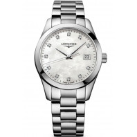 Longines - Conquest Classic 34mm White Mother-of-pearls & 11Diamonds L23864876