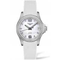 Longines - Conquest V.H.P. 36mm 65 Diamonds, Mother of Pearl & Rubber Strap L33160879