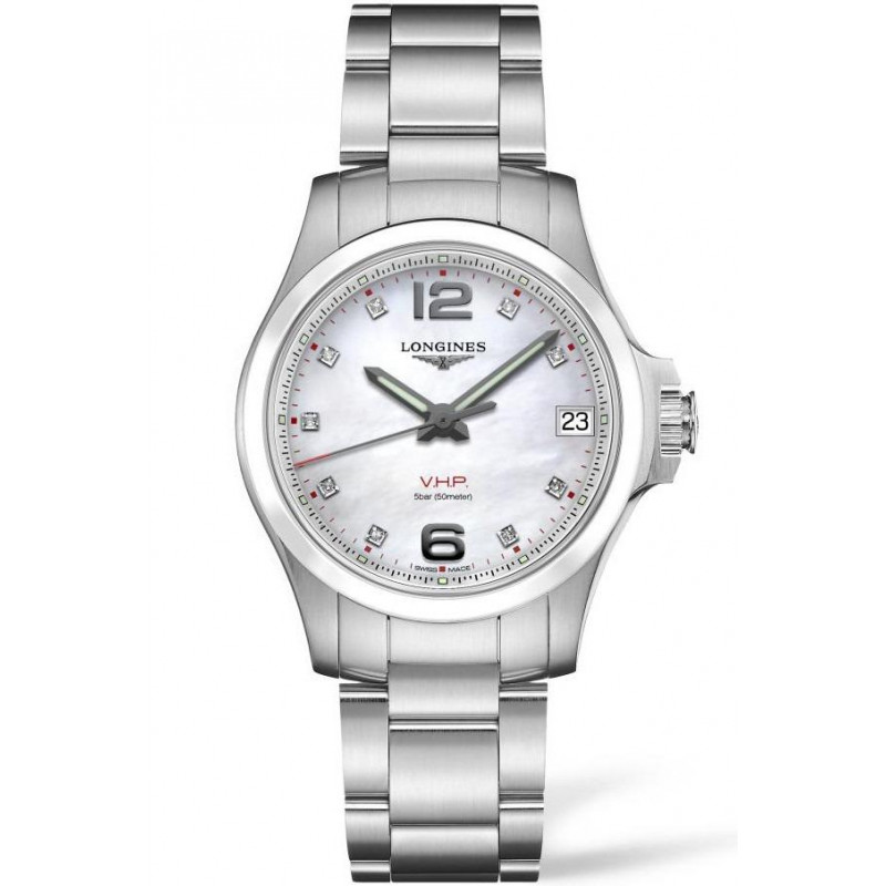 Longines - Conquest V.H.P. 36mm 9 Diamonds Mother-of-pearls Ceramic & Steel L33194876
