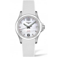 Longines - Conquest V.H.P. 36mm 9 Diamonds, White mother-of-pearl, Ceramic & Rubber strap L33194879