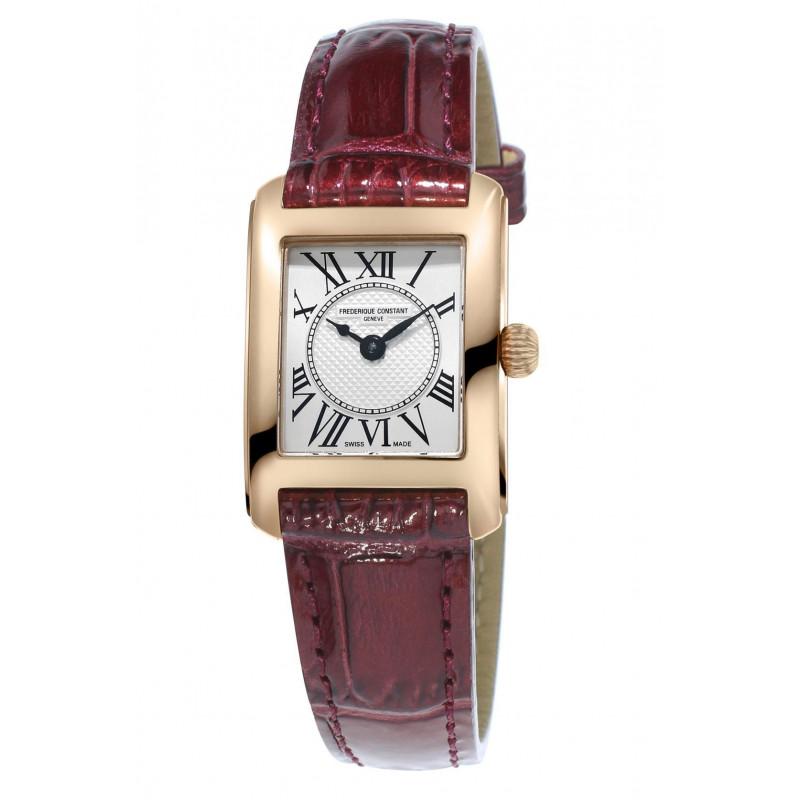 Frédérique Constant Classics Lady Carrée 23x21mm Quartz Silver & Rose gold Leather strap,FC-200MC14