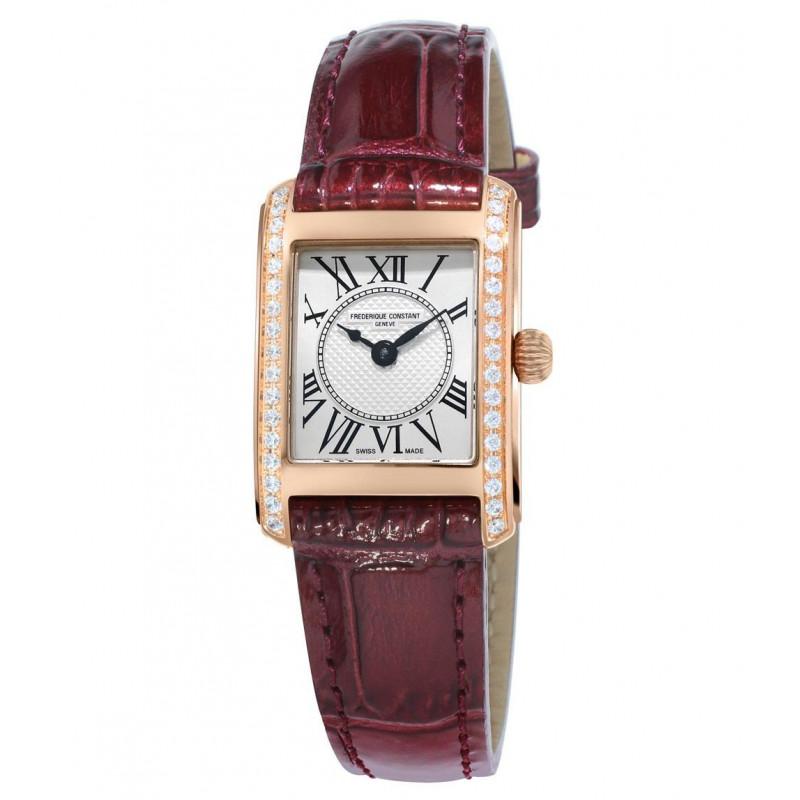 Frédérique Constant Classics Lady Carrée 23x21mm Quartz Silver & Rose gold 34 Diamonds Leather strap,FC-200MCD14