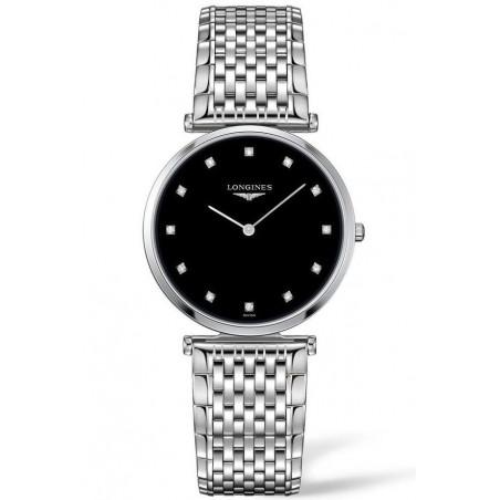 Longines La Grande Classique Black Diamonds Steel women's watch 33mm