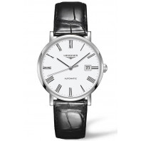 Longines Elegant 39mm Romerska siffror Vit & Stål Alligator band ,L49104112